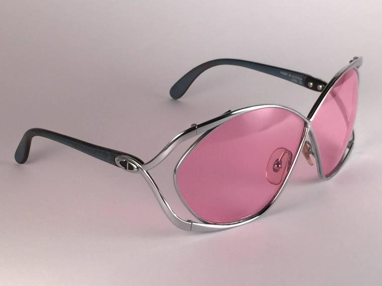 New Vintage Christian Dior 2056 75 Butterfly Silver Metal Pink Lenses Sunglasses 2
