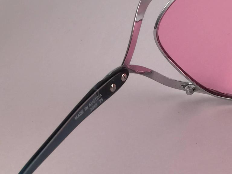 New Vintage Christian Dior 2056 75 Butterfly Silver Metal Pink Lenses Sunglasses 5