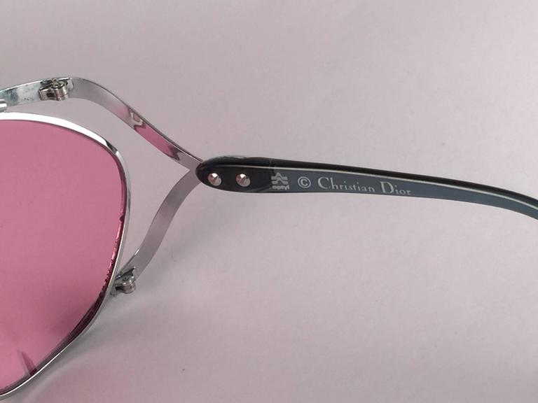New Vintage Christian Dior 2056 75 Butterfly Silver Metal Pink Lenses Sunglasses 6