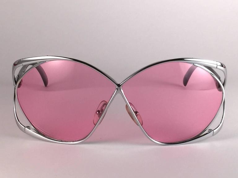 New Vintage Christian Dior 2056 75 Butterfly Silver Metal Pink Lenses Sunglasses 4