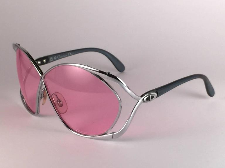 New Vintage Christian Dior 2056 75 Butterfly Silver Metal Pink Lenses Sunglasses 3
