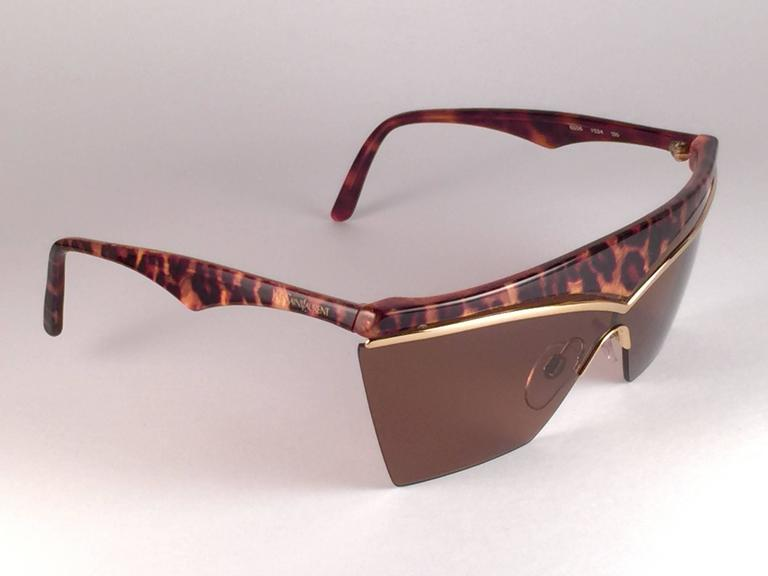 New Vintage Yves Saint Laurent 6506 Tortoise & Gold Mask Shield 1980 Sunglasses 2