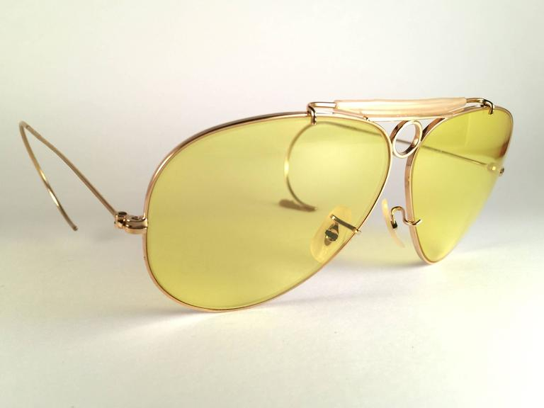 e3a2692af2 New Vintage Ray Ban Kalichrome Shooter Gold 62Mm 1960 s B L Sunglasses For  Sale at 1stdibs