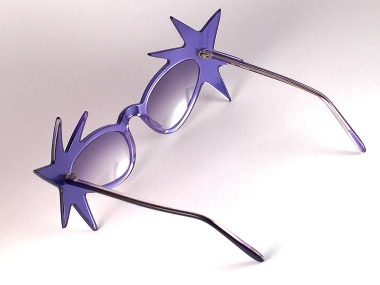 """Women's New Vintage Anglo American Optical """" Double Star """" Two Tone Blue Sunglasses 1970 For Sale"""
