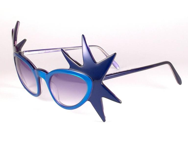 """New Vintage Anglo American Optical """" Double Star """" Two Tone Blue Sunglasses 1970 In New never worn Condition For Sale In Amsterdam, NL"""