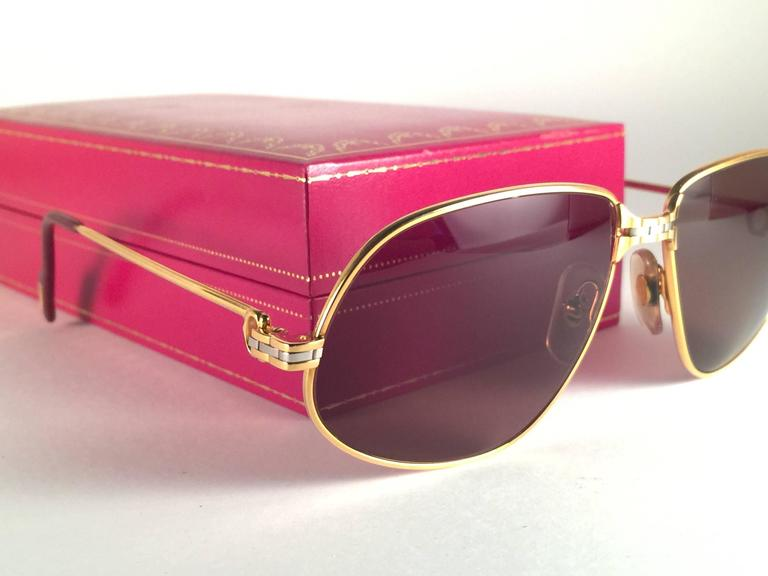 19b70dddb8fd8 New Vintage Cartier Panthere 56mm Medium Sunglasses France 18k Gold Heavy  Plated For Sale 2