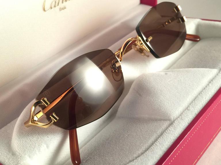 c19e080b211b Beige New Vintage Cartier Capri Gold 49mm Rimless Brown Lens France  Sunglasses For Sale