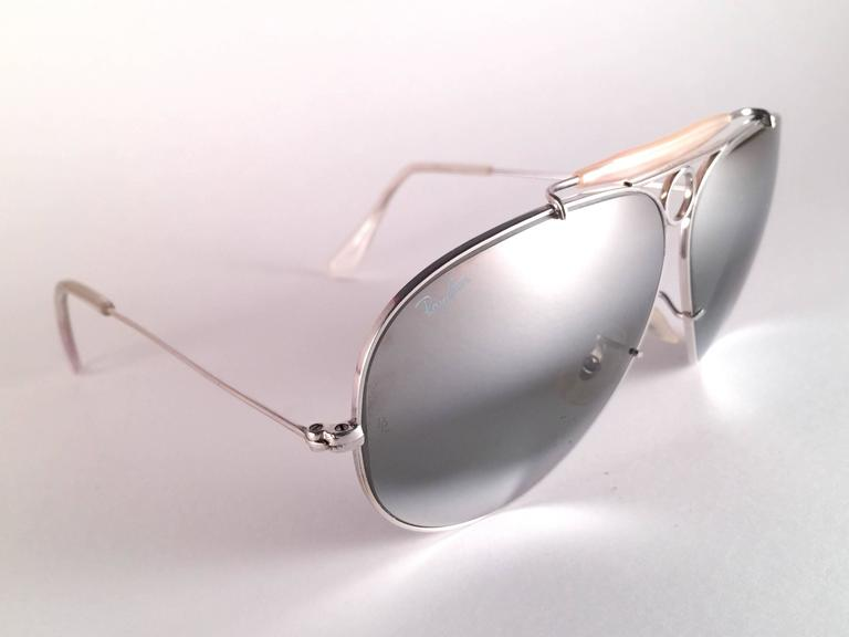 Brown New Vintage Ray Ban Shooter White Gold 62Mm Double Mirror 1980's B&L Sunglasses For Sale