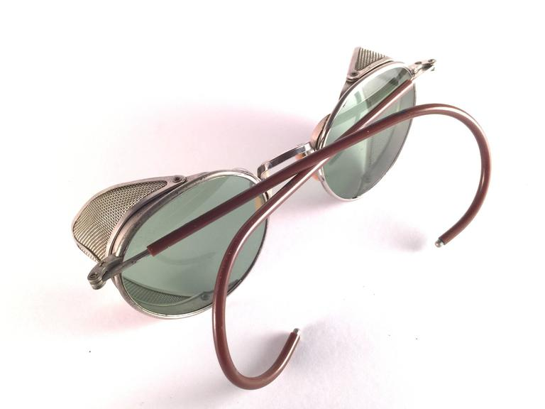 Gray Mint Vintage Bausch & Lomb Goggles Steampunk 1950's Collectors Item Sunglasses For Sale