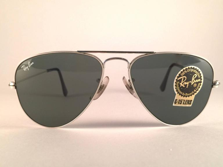 94a2b5d9ab New Super special vintage Ray Ban Aviator Silver frame with B L G15 Grey  Lenses in SIZE