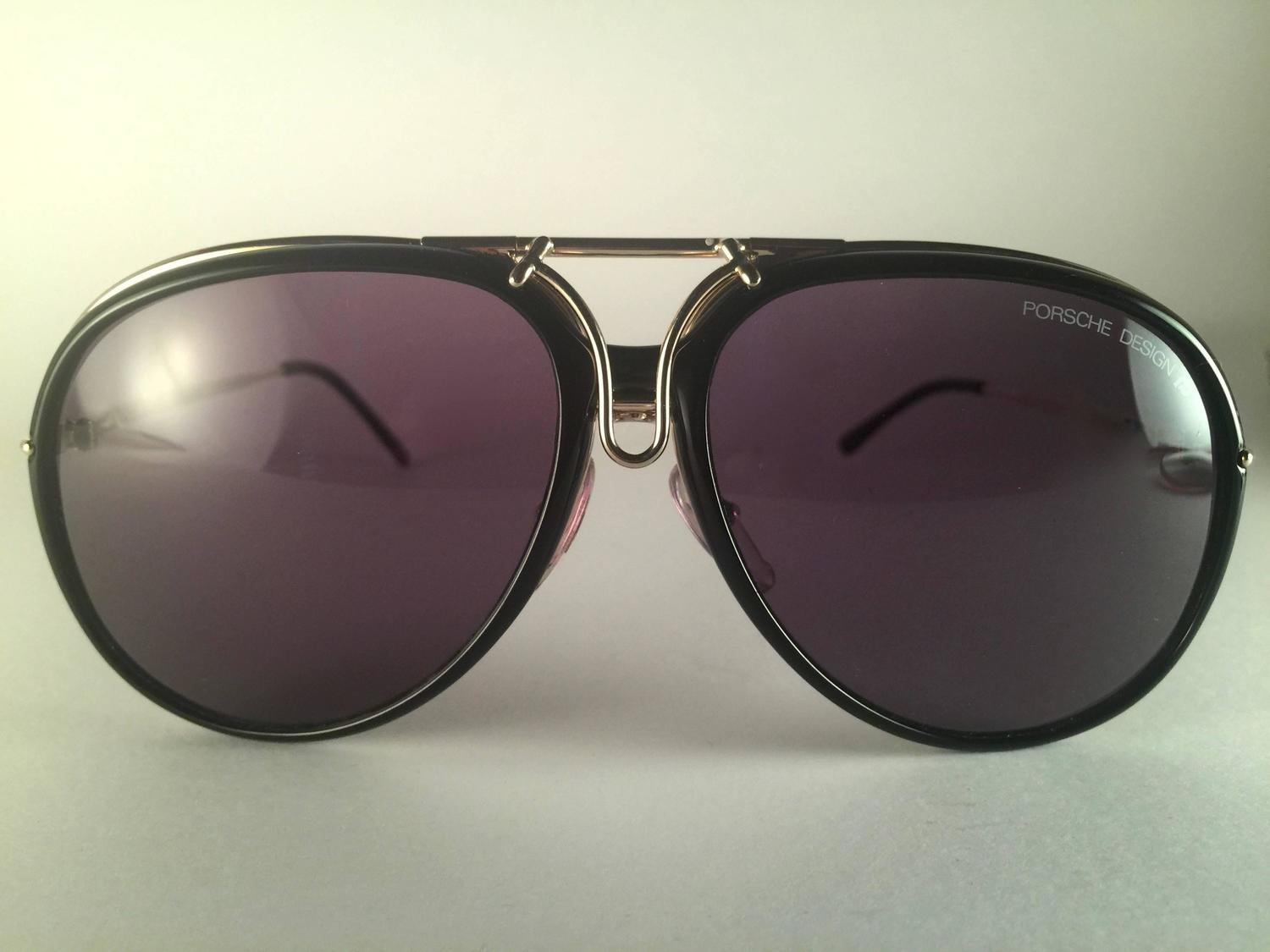 d79580d3fcc24 New Vintage Porsche Design By Carrera 5632 Gold Changeable Front Sunglasses  For Sale at 1stdibs