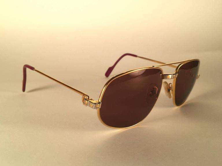 9117b842ffa3 Pink New Vintage Cartier Romance Santos 56MM France 18k Gold Plated  Sunglasses For Sale