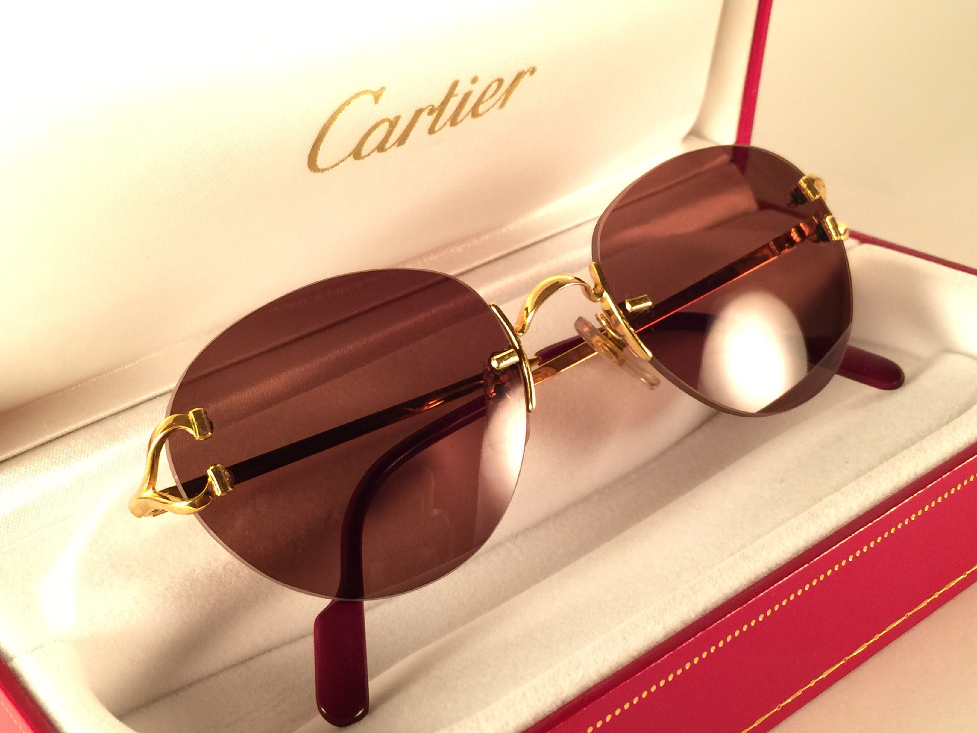 c9893fc8af7e New Vintage Cartier Portofino Gold 50mm Rimless Brown Lens France Sunglasses  at 1stdibs