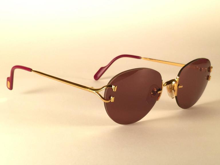 686190c2d4a9 New Vintage Cartier Portofino Gold 50mm Rimless Brown Lens France Sunglasses  For Sale 1
