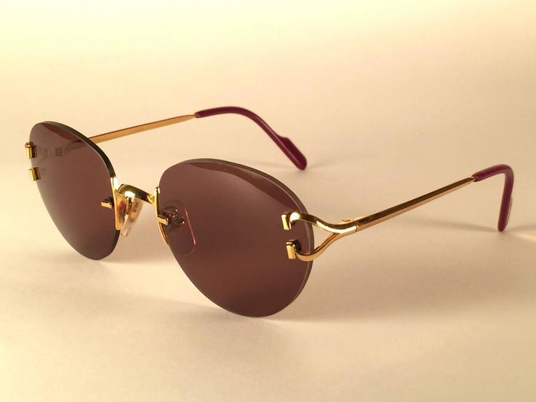cf840efe403e New Vintage Cartier Portofino Gold 50mm Rimless Brown Lens France Sunglasses  For Sale 2