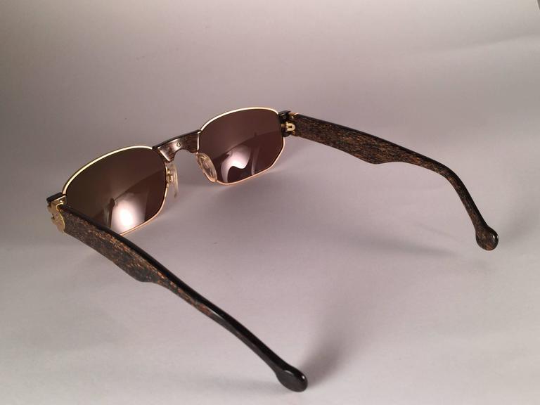 Black New Vintage Karl Lagerfeld L4503 Matte Gold & Stripes Frame 1990's Sunglasses For Sale