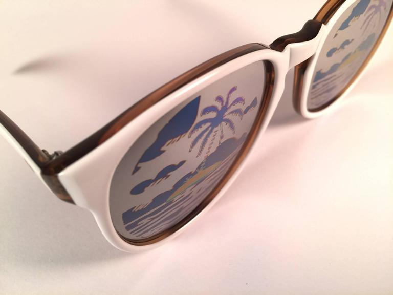Gray New Vintage Michele Lamy Rare White Frame Mirror Print Rick Owens Sunglasses  For Sale