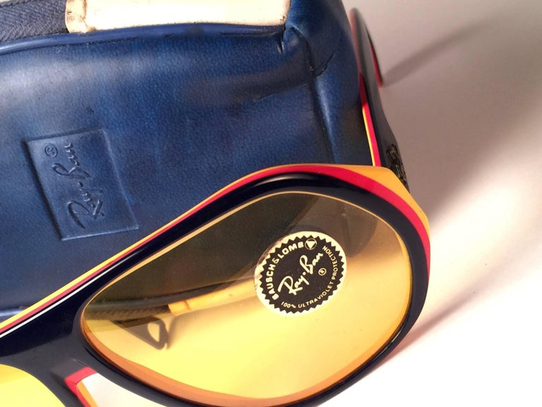 Purple New Vintage Ray Ban B&L Blazer Ambermatic Mirror Lenses Sunglasses USA For Sale