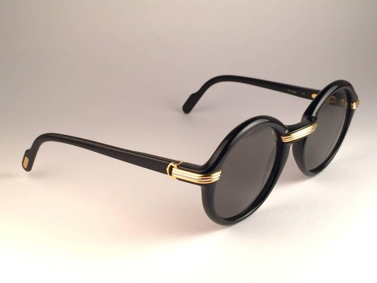 Beige New Cartier Cabriolet Round Black & Gold 49MM 18K Gold Sunglasses France 1990's For Sale