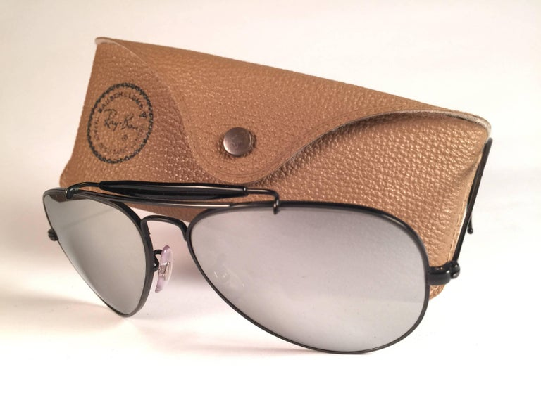 51d18fb3a136 New Vintage Ray Ban Black Outdoorsman 58Mm Full Mirror B L Sunglasses In New  Condition For Sale