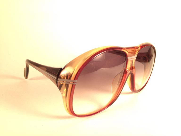 Orange New Vintage Zeiss Marwitz Clear Amber Gradient Made W. Germany 1970 Sunglasses For Sale