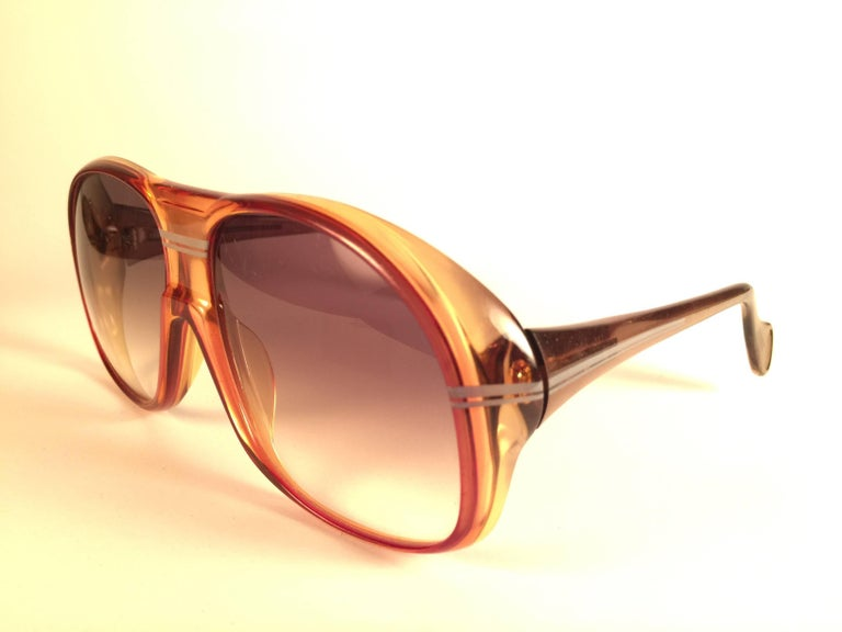 New Vintage Zeiss Marwitz Clear Amber Gradient Made W. Germany 1970 Sunglasses In New Condition For Sale In Amsterdam, Noord Holland