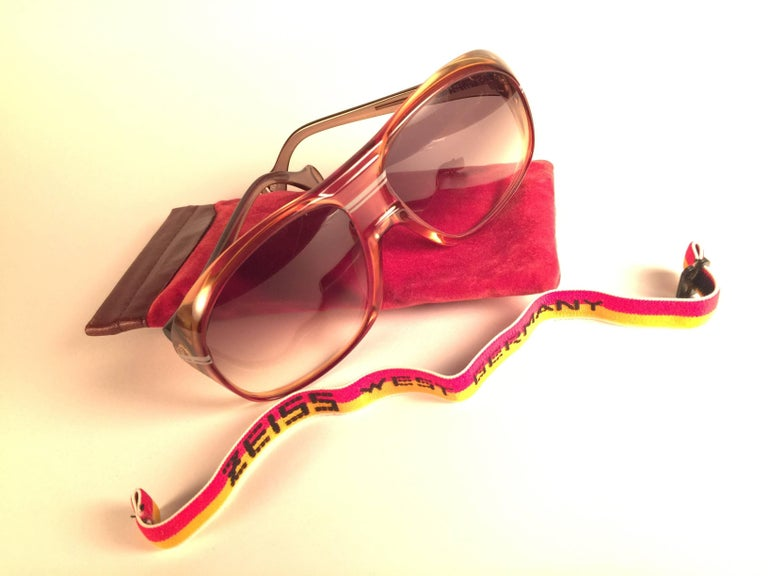 Men's New Vintage Zeiss Marwitz Clear Amber Gradient Made W. Germany 1970 Sunglasses For Sale
