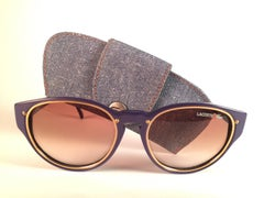 New Vintage Lacoste Purple Accents Gold 1980's Sunglasses Made in France