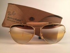 New Vintage Ray Ban Aviator Gold Ambermatic Double Mirror 1970's B&L Sunglasses