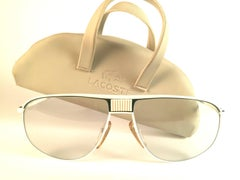New Vintage Lacoste White Green Accents 1980's Sunglasses Made in France