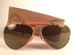 New Vintage Ray Ban Leathers Outdoorsman Perforated Leather 62' B&L Sunglasses