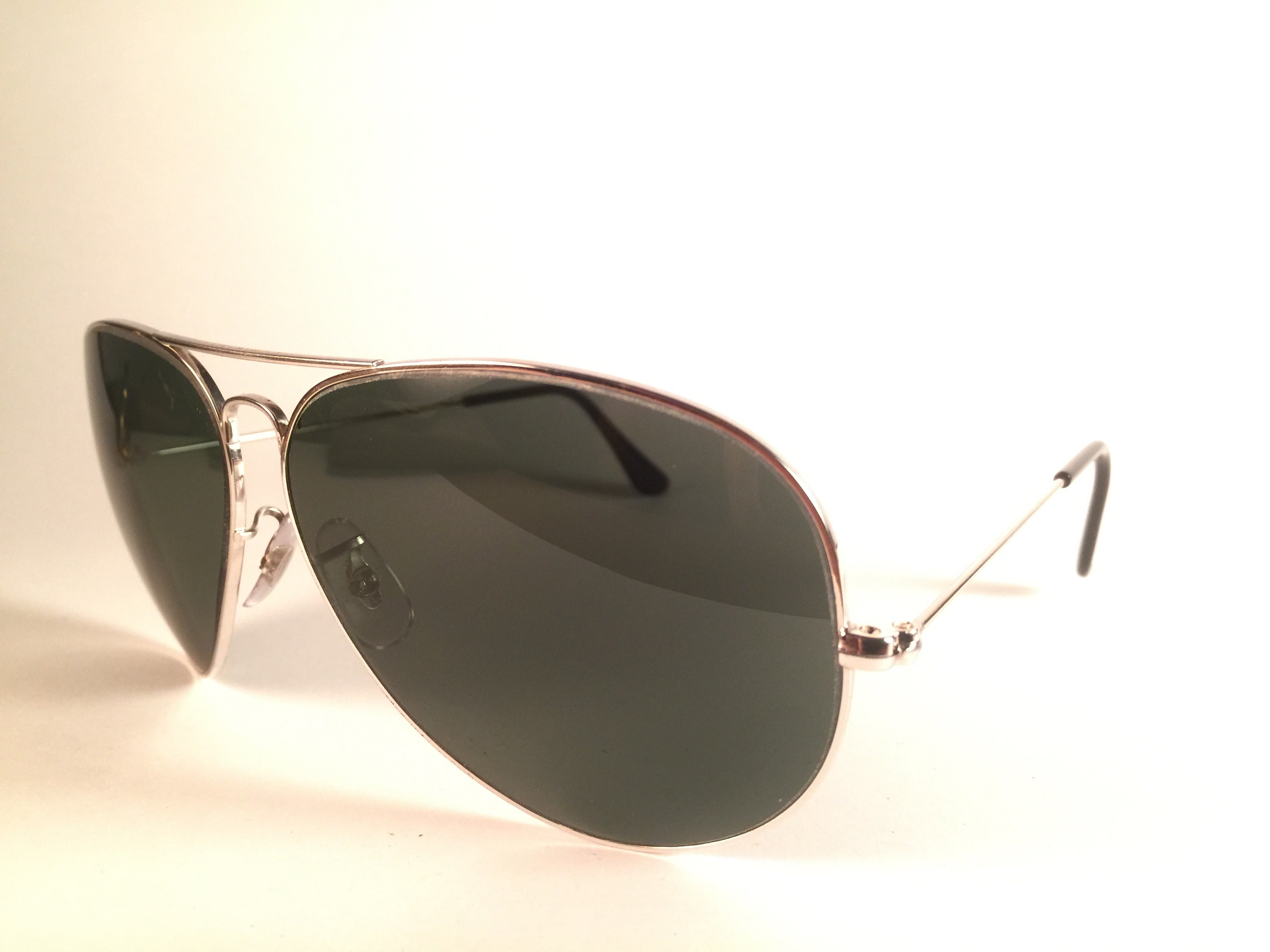 90c82ef7ae New Vintage Ray Ban Aviator 62Mm White Gold Grey G15 Lenses B L Sunglasses  at 1stdibs