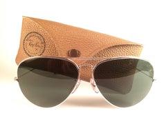 New Vintage Ray Ban Aviator 62Mm White Gold Grey G15 Lenses B&L Sunglasses