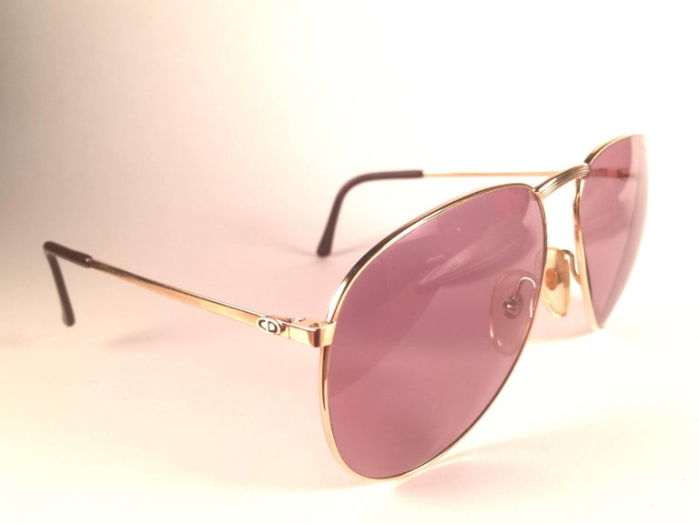 Brown New Vintage Christian Dior Monsieur 2252 Gold Frame Optyl Germany Sunglasses For Sale