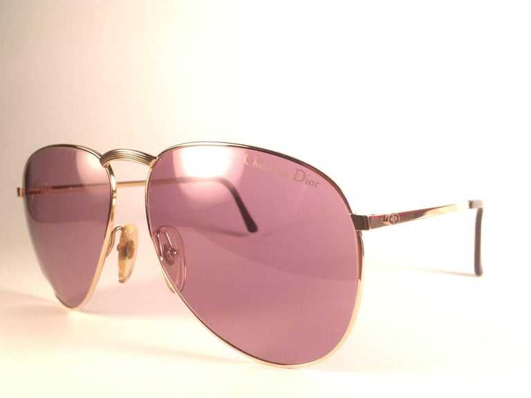 New Vintage Christian Dior Monsieur 2252 Gold Frame Optyl Germany Sunglasses In New Condition For Sale In Amsterdam, Noord Holland