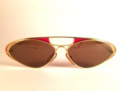 New Vintage Casanova Enamel Gold Frame Brown Lens 1980 Sunglasses
