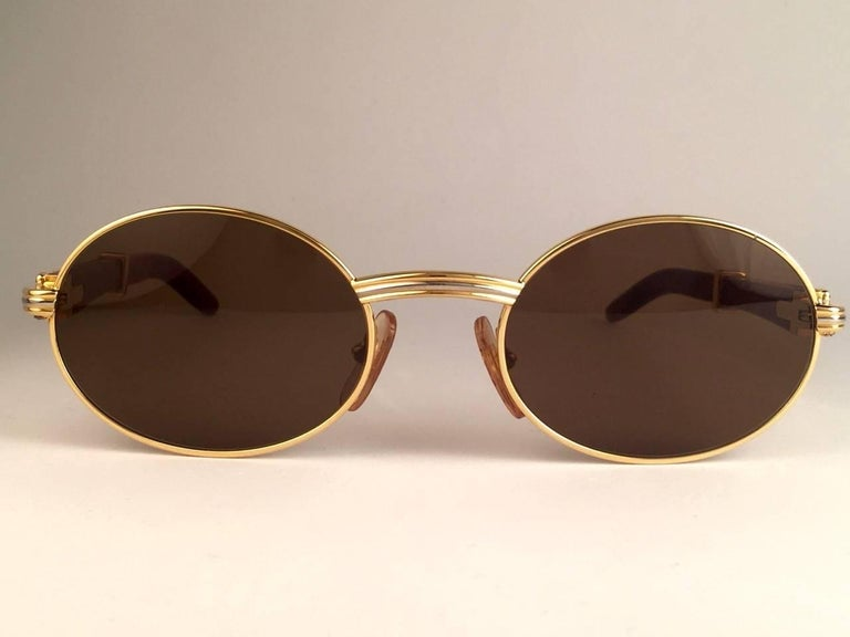 55e510d422 New Cartier Giverny Gold and Wood 51 20 Full Set Brown Lens France ...