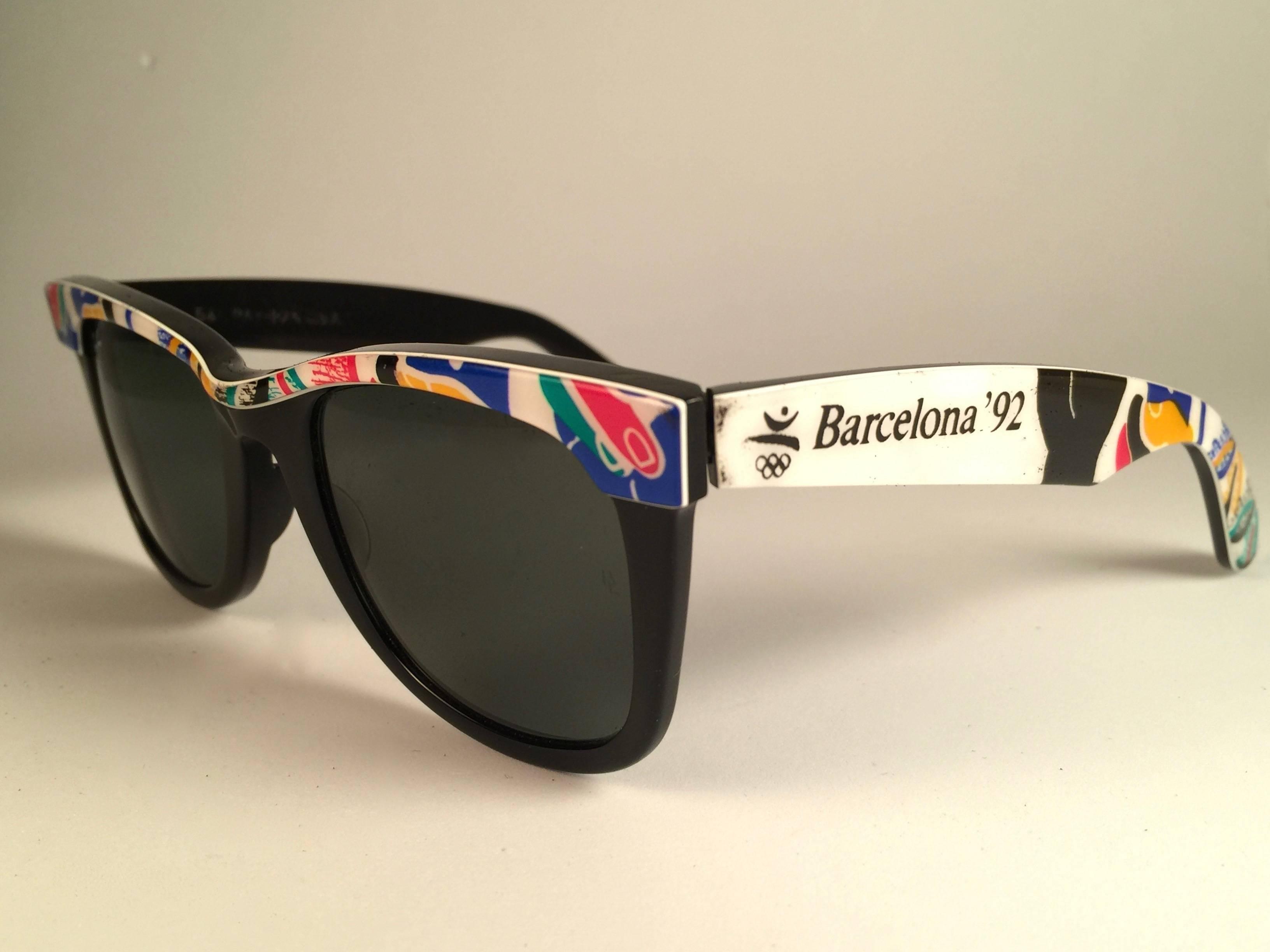 96a6160312 Vintage Ray Ban The Wayfarer Olympics Barcelona 1992 B L USA 80 s  Sunglasses at 1stdibs