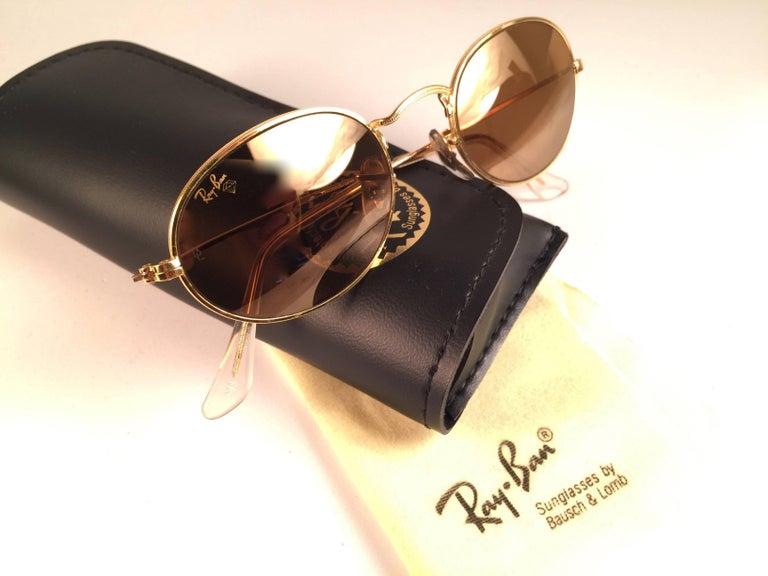 ff337961c45 New Vintage Ray Ban Oval Gold Diamond Hard Lenses 1980  39 s B L Sunglasses