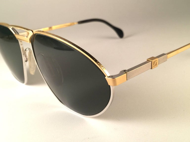 Black New Vintage Zeiss Competition Silver & Gold Grey Lenses 1980's Sunglasses For Sale