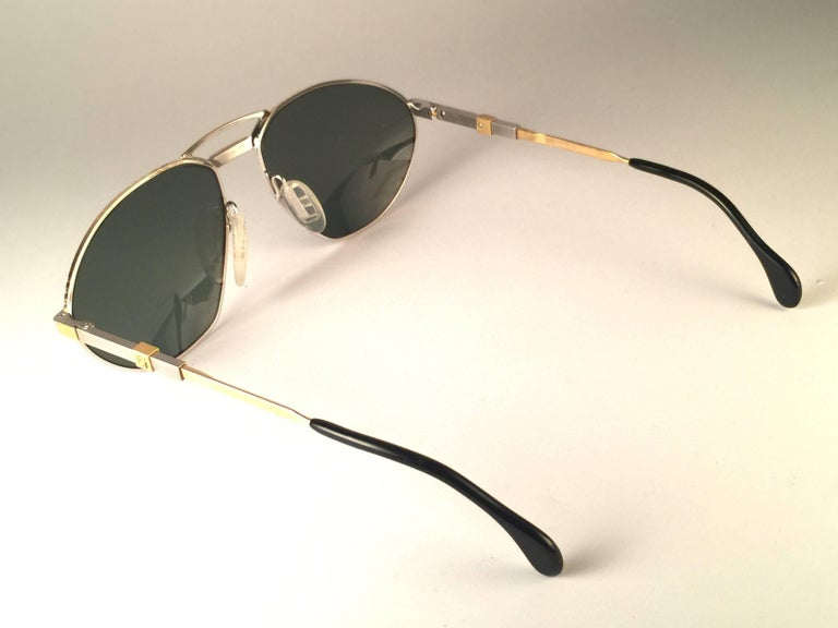 New Vintage Zeiss Competition Silver & Gold Grey Lenses 1980's Sunglasses For Sale 1
