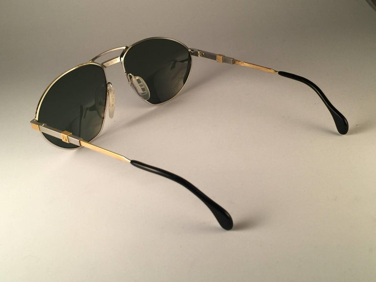 New Vintage Zeiss Competition Silver & Gold Grey Lenses 1980's Sunglasses In New Condition For Sale In Amsterdam, Noord Holland