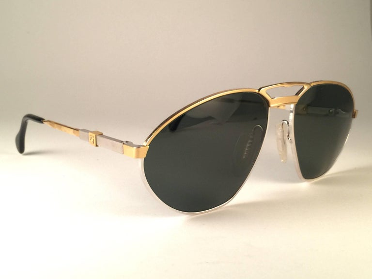 Men's New Vintage Zeiss Competition Silver & Gold Grey Lenses 1980's Sunglasses For Sale