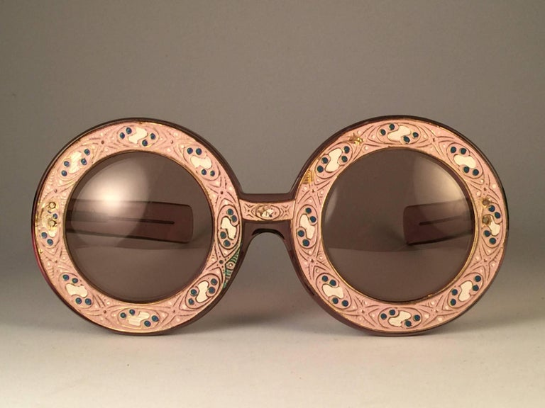 Ultra Rare 1969 Christian Dior Enamel Insert Oversized Collector Item Sunglasses 2