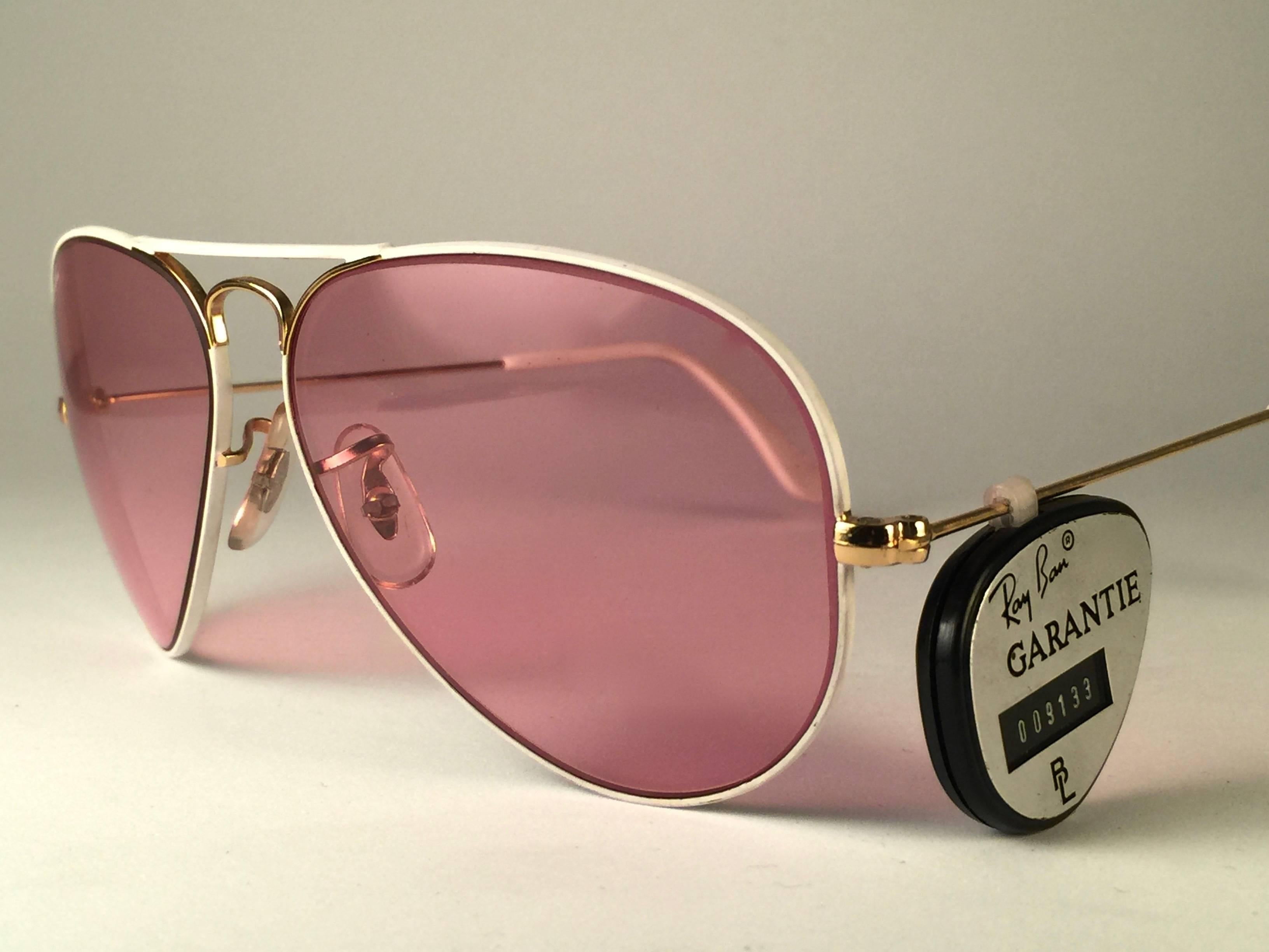 cfcb65a2ca7 New Vintage Ray Ban Aviator Flying Colors White Rose Lenses B L Sunglasses  at 1stdibs
