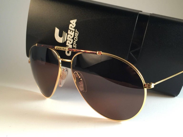 7fd7123db9 New Vintage Boeing by Carrera Aviator Tortoise Gold Large Sunglasses  Austria For Sale at 1stdibs