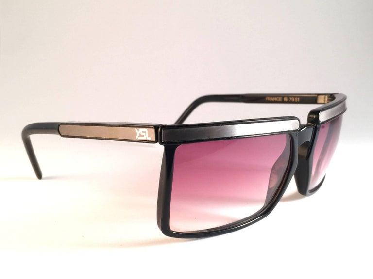Black New Vintage Yves Saint Laurent YSL 7951 1980 France Sunglasses For Sale