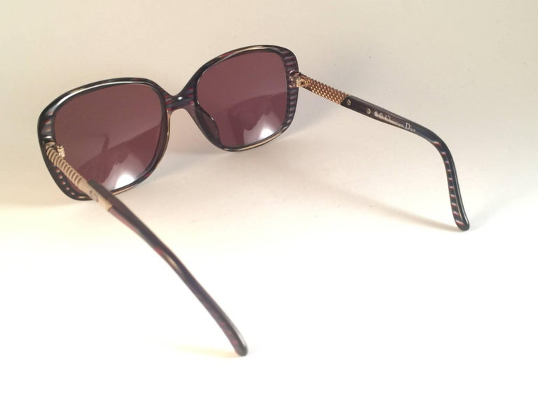 New Vintage Christian Dior 2415 Stripes Gold Sunglasses 1980 Austria 4