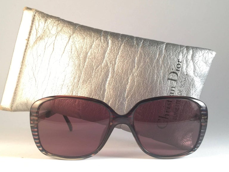 New Vintage Christian Dior 2415 Stripes Gold Sunglasses 1980 Austria 2
