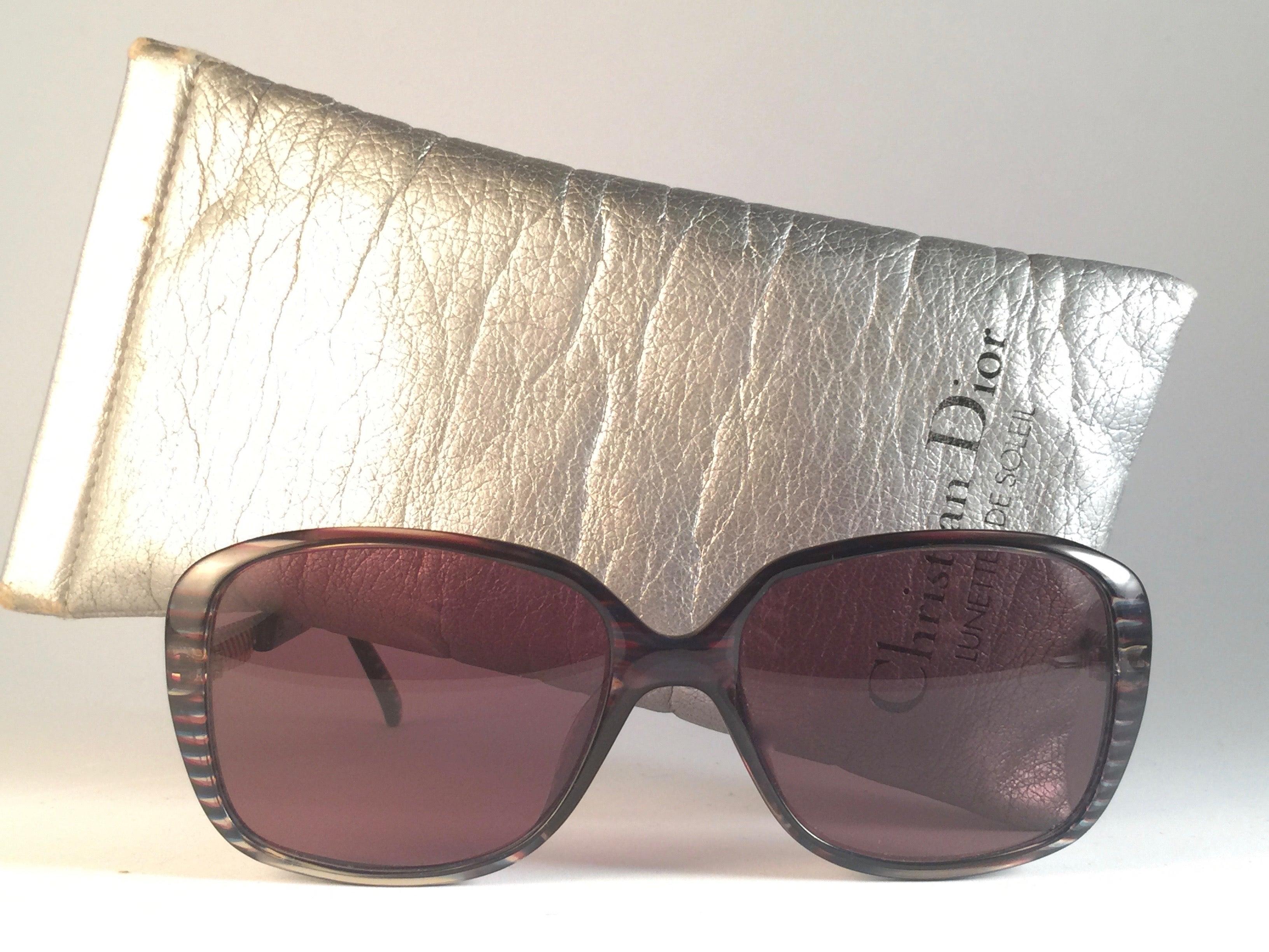 f5ecffa8a56d New Vintage Christian Dior 2415 Stripes Gold Sunglasses 1980 Austria For  Sale at 1stdibs